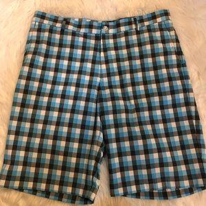 Slazenger golf shorts men's sz 36 plaid blue gray